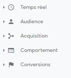 menu horizontal google analytics